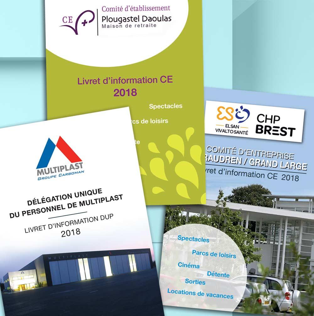 Mise en page de trois livrets format A6, pour Comité d'Entreprise